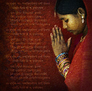 Praying Hands Digital Art Prints - Gayatri Mantra Print by Tim Gainey