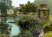 Kinkade Posters - Gazebo and Pond Poster by Terry Reynoldson