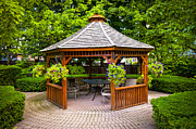Lush Green Framed Prints - Gazebo  Framed Print by Elena Elisseeva