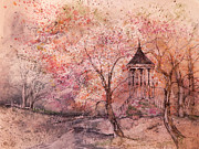 King James Prints - Gazebo In Red Print by Anna Sandhu Ray