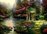 Kinkade Prints - Gazebo of Serenity Print by Thomas Kinkade