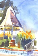 Impressionistic Landscape Painting Originals - Gazebo on the City Square by Kip DeVore