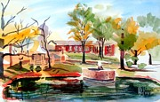 Autumn Scene Painting Prints - Gazebo Pond and Duck II Print by Kip DeVore
