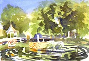 Impressionistic Landscape Painting Originals - Gazebo with Pond and Fountain II by Kip DeVore