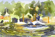 Impressionistic Landscape Painting Originals - Gazebo with Pond and Fountain by Kip DeVore
