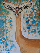Gazelle Paintings - Gazelle giraffe by Abdo Allahabi