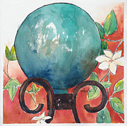 Garden Ornament Posters - Gazing Ball Poster by Pat Katz