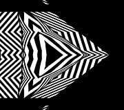 Op Art Digital Art Posters - Geaometric Art Black White Abstract No.304. Poster by Drinka Mercep