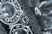 Industry Prints - Gears And Cogs Titanium And Steel Power Print by Christian Lagereek
