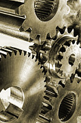 Gear Photo Posters - Gears And Cogwheels In Antique Look Poster by Christian Lagereek