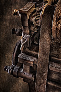 Machinery Photo Framed Prints - Gears And Pulley Framed Print by Susan Candelario