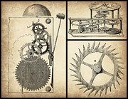 Gears Mixed Media Prints - Gears INDUSTRIAL or Steampunk Collage Art Print by Tricia SweetRascal Photos