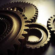 Mechanism Prints - Gears Print by Les Cunliffe