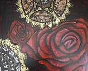 Swarovski Crystals Painting Originals - Gears of War of the Roses by Rebecca Schoof