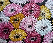 Gerbera Paintings - Gebera Daisies by Karin Best