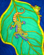 Colorful Animals Drawings Framed Prints - Gecko and Frog Framed Print by Nick Gustafson