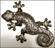 Drum Sculptures - Gecko Outdoor Decor - Extra Large Haitian Metal Art  Wall Hanging by Jn Jacob
