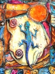 Sweat Mixed Media Prints - Gecko Print by Patricia Allingham Carlson