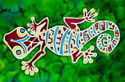 Forest Tapestries - Textiles Prints - Gecko Rojo Print by Kelly     ZumBerge