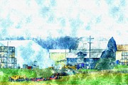 Spray Drawings - Gee Farm Orchard Barns And Outbuildings   by Rosemarie E Seppala