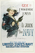 Us Navy Paintings - Gee I wish I were a Man - Id Join the Navy by Howard Chandler Christy