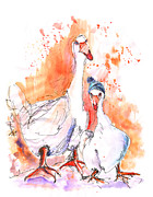 Geese Drawings Metal Prints - Geese in Spanish Winter Metal Print by Miki De Goodaboom