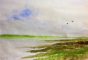 Canadian Geese Paintings - Geese over the Marshland by Desmond Raymond
