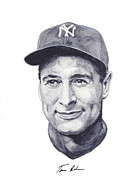 New York Yankees Painting Framed Prints - Gehrig Framed Print by Tamir Barkan
