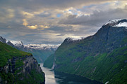 Norwegian Sunset Photo Prints - Geirangerfjord Sunset Print by Benjamin Reed