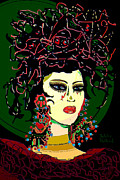 Hairstyle Mixed Media Posters - Geisha 6 Poster by Natalie Holland
