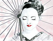 Pen And Ink Drawing Digital Art Metal Prints - Geisha Metal Print by Amanda Bright