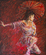 Chinese Paintings - Geisha Dance With Umbrella by Nik Helbig
