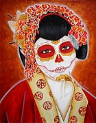 Mexican Holiday Prints - Geisha de los Muertos Print by Al  Molina