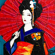 Kimono Framed Prints - Geisha Framed Print by EMONA Art