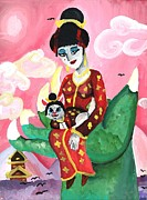 Cay Painting Posters - Geisha Girl and kitty Poster by Shelby McSweeney