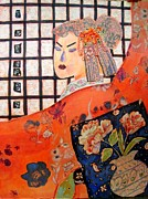 Jewellery Mixed Media Posters - Geisha Girl Poster by Diane Fine