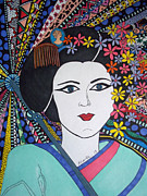 Hair Bun Originals - Geisha Girl Portrait by Karen Larter
