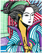 Portrait Woodblock Prints - Geisha Green and Blue Print by Don Koester