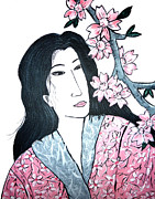 Sakura Paintings - Geisha in pink robe by Inna J