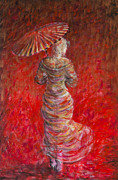 Chinese Paintings - Geisha in Red by Nik Helbig