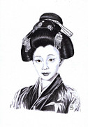 Jewellery Drawings Framed Prints - Geisha Of Gion Framed Print by Mandy Smith