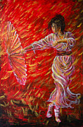 Manga Framed Prints - Geisha - Rain Dance 02 Framed Print by Nik Helbig