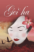 Cherry Blossoms Digital Art Metal Prints - Geisha Metal Print by Vi Ha
