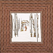 Handmade Quilt Framed Prints - Geisha Walking Her Dragon in a Snowy Forest Framed Print by Elena Kazmier Miranda Radock