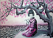 Sakura Paintings - Geisha with a flute by Inna J