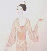 Fashion Illustration Pastels Posters - Geisha with a Lotus Blossom Poster by Christine Corretti