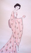 Fashion Illustration Pastels Posters - Geisha with an Asian Pear Poster by Christine Corretti