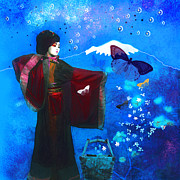 Storybook Digital Art Prints - Geisha with butterflies Print by Jeff Burgess