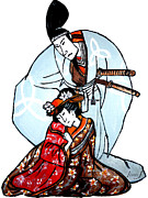 Owner Painting Framed Prints - Geisha with her Master. Framed Print by Inna J