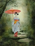 Rain Painting Framed Prints - Geisha With Umbrella Framed Print by Robert Hooper